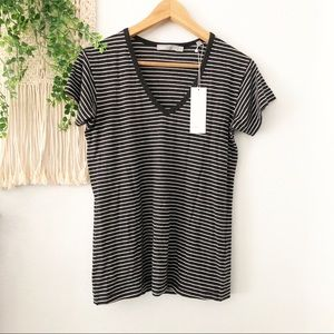 VINCE Striped Short Sleeve V Neck Tee Shirt S NWT